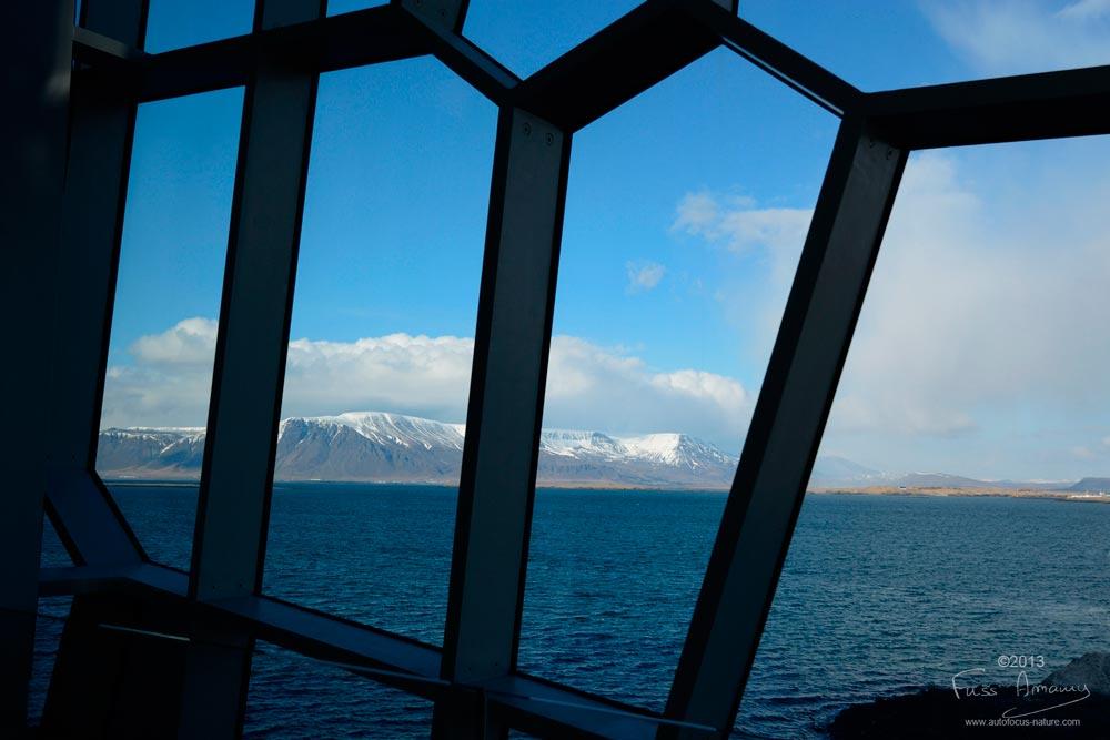 Icelandic Opera De Reykjavik, vu de l'intérieur sur la baie